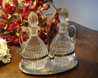 "Metal tray 2 ""Vinegar and oil"" glass carafes servant - serving Metal Tray 2 Glass decanters ""Vinegar and Oil"""
