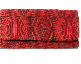 Deep Red Embroidered Guatemala Clutch