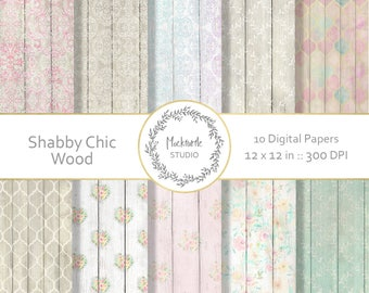 Shabby Chic Wood digital paper - Wood clipart - Scrapbook paper, Wood Digital Paper - Shabby Chic Wood Texture Digital Paper, Commercial use