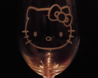 Hello kitty etched wine glass