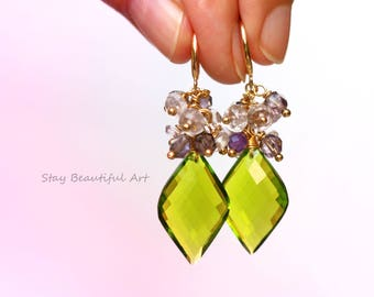 Peridot Quartz With Pink and Purple Amethyst Gold Plated Cluster Earrings Summer Gemstone Jewellery Green Pink Purple Earrings