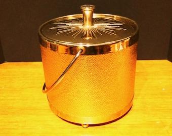 Vintage Mid Century Kraftware Gold Ice Bucket Hollywood Regency