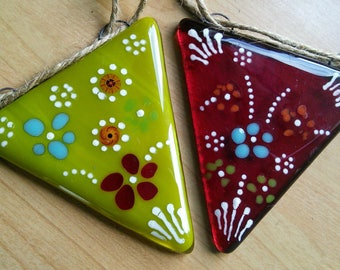 Turkish inspired handmade fused glass bunting, colourful fused glass bunting in spectacular shades with Turkish inspired flower patterns.