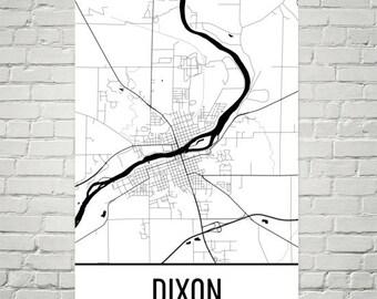 Dixon Map, Dixon Art, Dixon Print, Dixon IL Poster, Dixon Wall Art, Map of Illinois, Illinois Gift, Illinois Decor, Illinois Map Art
