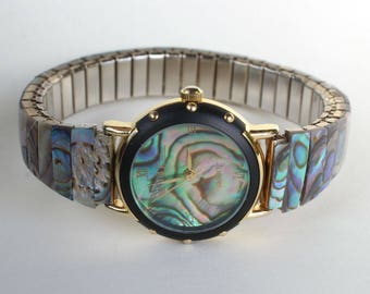 Natural Real Abalone Shell Watch Band Face Womens Gift for Her Stretchy Band