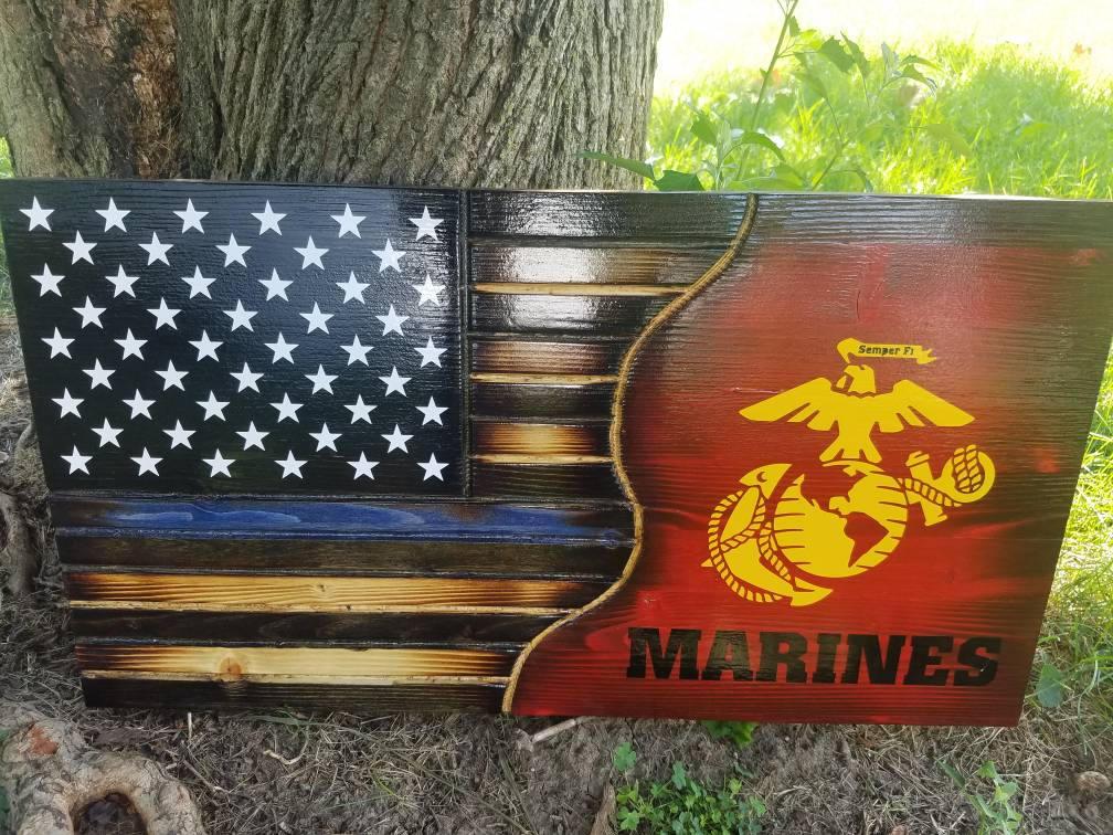 American Flag USMC Thin Blue Line Military Rustic Distressed Charred