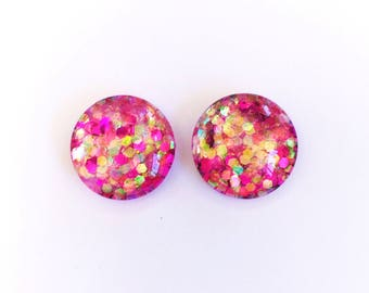 The 'Strawberry Kisses' Glass Glitter Earring Studs
