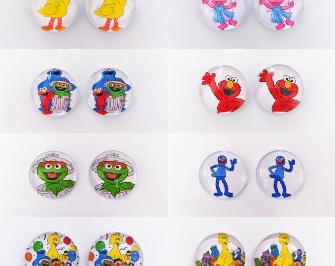 The 'Sesame Street' Glass Earring Studs