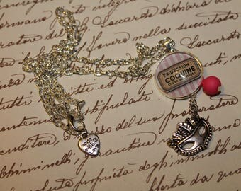 """Necklace and cabochon glass """"naughty profession"""""""
