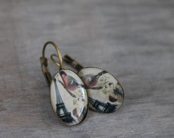 Parisian Sparrow - Earrings oval metal bronze