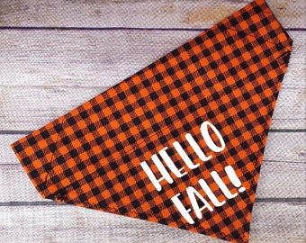 Hello Fall Dog Bandana / Hello Spring Summer Winter Cat Bandana / All Seasons / Photo Prop Shoot Idea / Plaid Dog Scarf / Over Collar