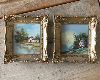 Mini landscapes seascape paintings in gold frames, vintage artwork, wall decor, Amparo, pair of landscapes