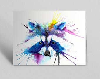 Raccoon Greetings Card