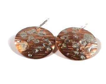 Mixed Metal Earrings Copper Earrings Copper and Silver Earrings Copper Disc Earrings Dangle Earrings Handmade Earrings Large Earrings