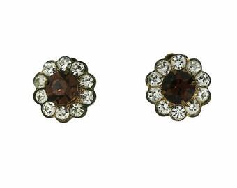 1940s Topaz Rhinestone Vintage Flower Earrings