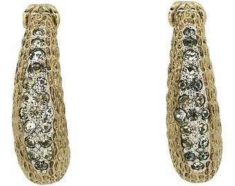 Panetta 1960s Rhinestone Vintage Demi-Hoop Earrings