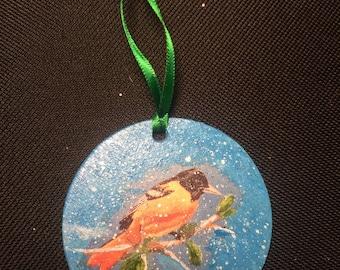 Oriole Bird Winter Ornament