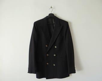 Yves Saint Laurent Black Wool blazer, 1980s double breasted jacket.