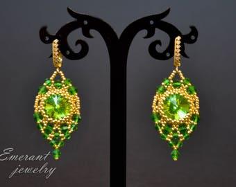Crystal Rivoli earring Beaded Summer outdoors jewelry Summer party Seed Bead Earring Gold Green Dainty earrings Everyday Cute earrings