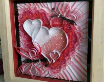 Beautiful handmade 3d quilling Love piece in box frame.