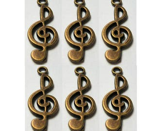 6 Pieces Musical Note Finding Bronze Antiqued Brass Color
