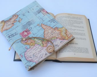 World Map Book Sleeve with closure, Fabric Book Sleeve, Book Lover Gift, Book Pouch, Paperback Cover, Fabric book cover, Book Bag
