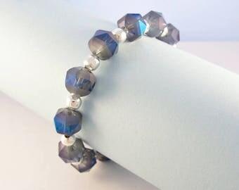 Blue crystal beaded bracelet / blue and silver bead bracelet