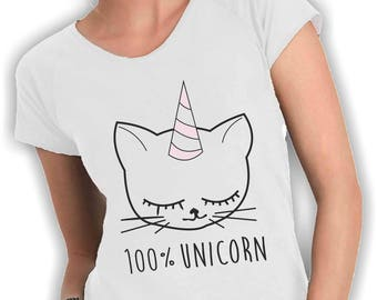 100% wide neck-UNICORN woman t shirt