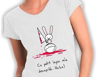 Women's V neck t shirt Ce petit lapin m'a decapite '