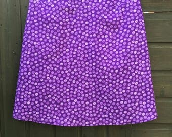 A Line Skirt - snowballs cotton/lined/purple/blue/brown/yellow/green/summer lightweight/knee length/mini/holiday/office /capsule wardrobe