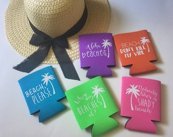 Beach Can Coolers   Beachy Sayings   Summer Can Coolers