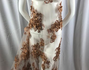 Lace Fabric - Copper 3D Flower Beaded Embroidery Diamonds Mesh Dress Floral Wedding Decoration Bridal Veil - By The Yard