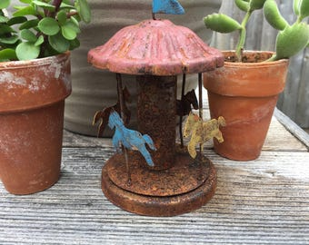 Fairy Garden | Miniature Carousel Carnival Fair Ride | Rustic Metal Merry-Go-Round | Whimsical County Fair for Fairies & Gnomes