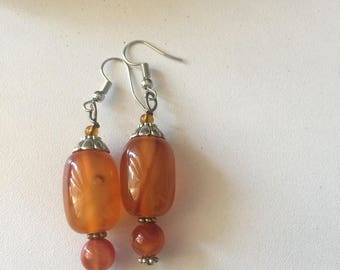 Amber Beaded Earrings, Handmade Earrings, Gemstone Earrings, Fashion Earrings
