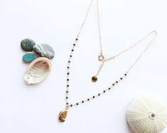 ABALONE - off set necklace / was 2017 (gold, summer, beach, shell, black onyx gemstone, sea, minimalist)