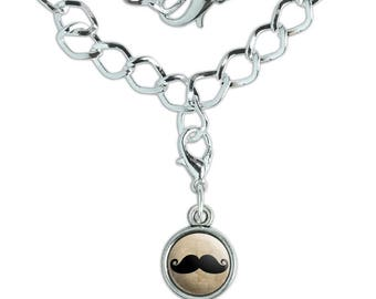 Curly Mustache Silver Plated Bracelet with Antiqued Charm
