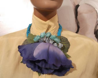 Necklace with large fabric flower