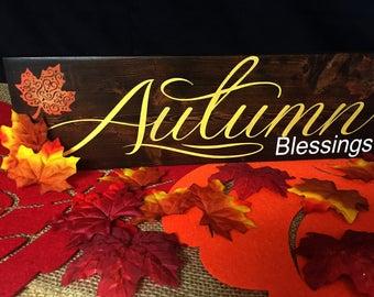 Autumn Blessings, Fall Decor, Autumn Decor, Handpainted, Thanksgiving, Halloween, Fall Plaque