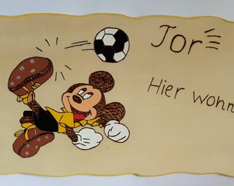 for the football fan, Micky, door sign