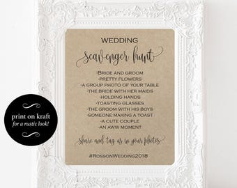Wedding Scavenger Hunt - Printable Wedding Sign - Printable Bridal Scavenger Hunt - Downloadable wedding #WDH878PL896