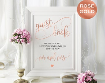 Rose gold guest book sign - Rose gold wedding sign - Guest Book Wedding Sign - guest book sign 8x10 instant download #WDH302_6