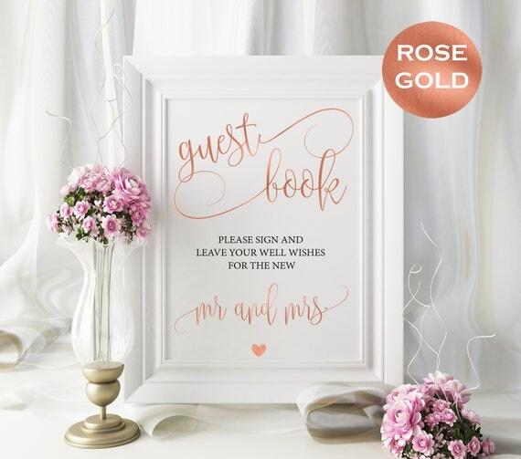 Rose gold guest book sign - Rose gold wedding sign - Guest Book Wedding Sign - guest book sign 8x10 instant download WDHRGB8511