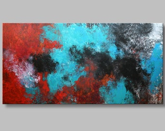 "Acrylic painting 140x70 cm,56""x28"",abstract painting, wall decor, original paiting,canvas painting,red,greem,orange,yellow, abstract art,"