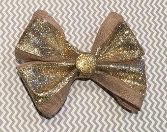 Burlap and Glitter Hair Bow