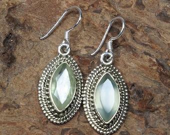 Natural Blue Aquamarine 925 Sterling Silver Earrings - Gemstone Earrings -girlfriend birthday Gift E1133