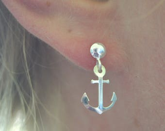 925 sterling silver stud earrings with the anchor charms, sailor earrings, sea earrings, anchor earrings
