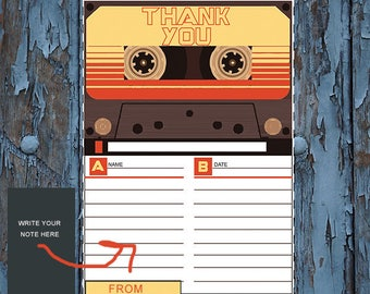 Retro 80's Themed cassette tape Thank You Note or Birthday Party Invitation Card All Ages - Any Color