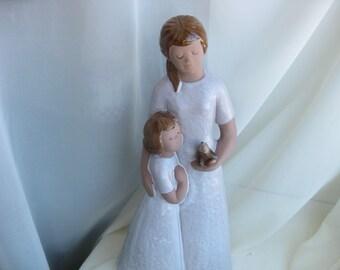 "Vintage Rare Jie Gantofta Sweden  Large 16"" (40 cm) Ceramic  Figures Girls"