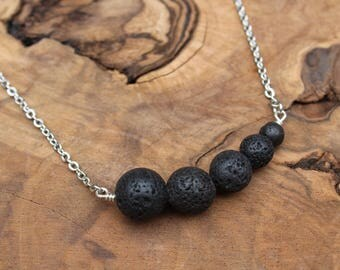 lava stone diffuser necklace, lava rock necklace, asymmetrical jewelry, essential oil diffusing necklace, lava stone jewelry,