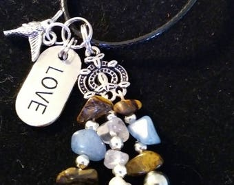 Gemstone, humming bird and Love dangle charm necklace